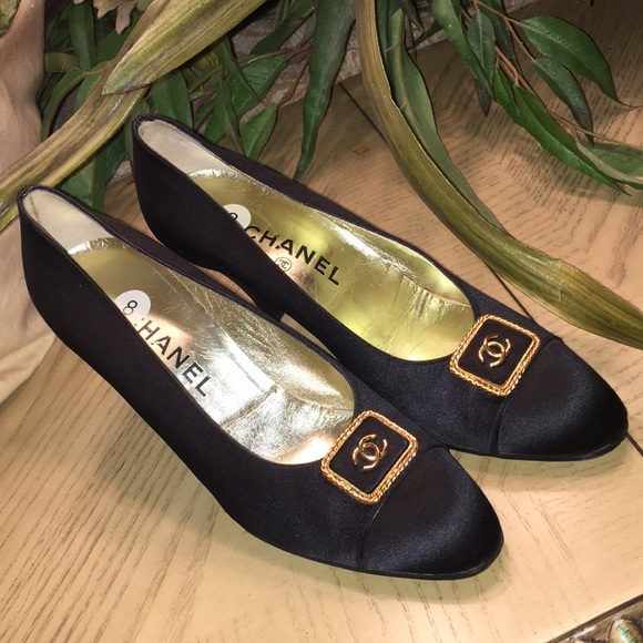 2468fbd0ee304 CHANEL Shoes | Satin Black Cap Toe Heels Gold Logo Cc | Poshmark